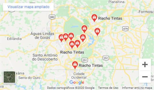 Mapa lojas riacho tintas